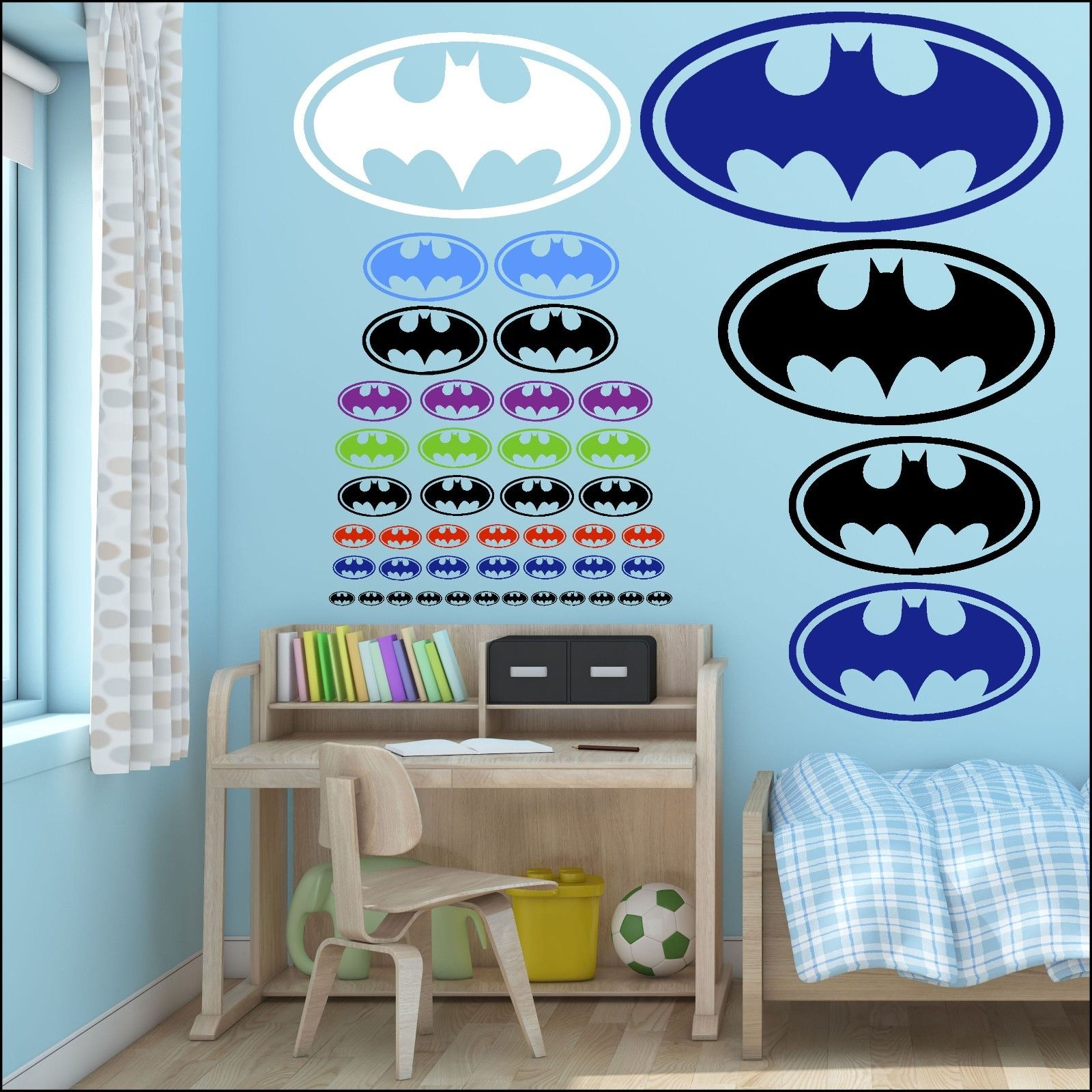 SMALL BATMAN BAT MAN LOGO CHILDRENS WALL ART STICKERS TRANSFER STENCIL DECAL