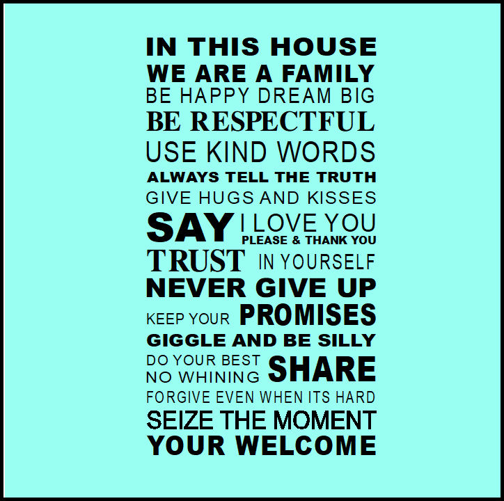 LARGE QUOTE HOUSE RULES FAMILY LOVE SMILE ART WALL STICKER  TRANSFER DECAL