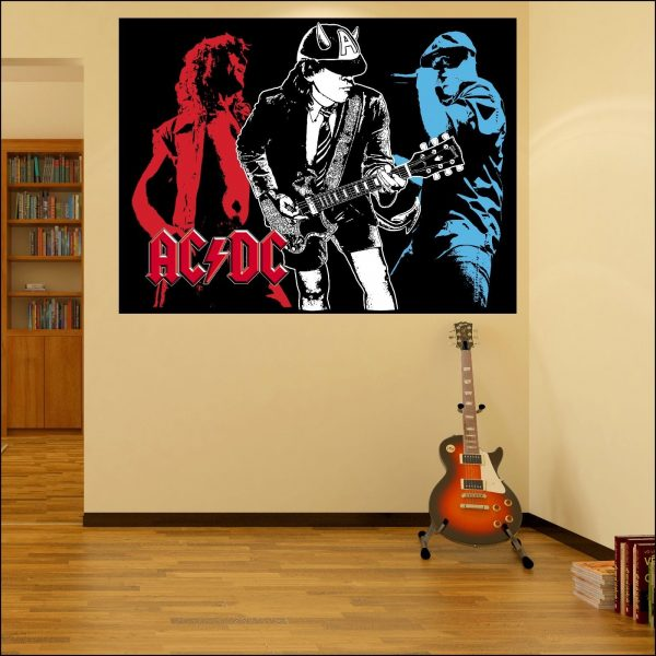 large acdc wall sticker decal ideal for man cave 6 sizes a4-xxl 1.2m