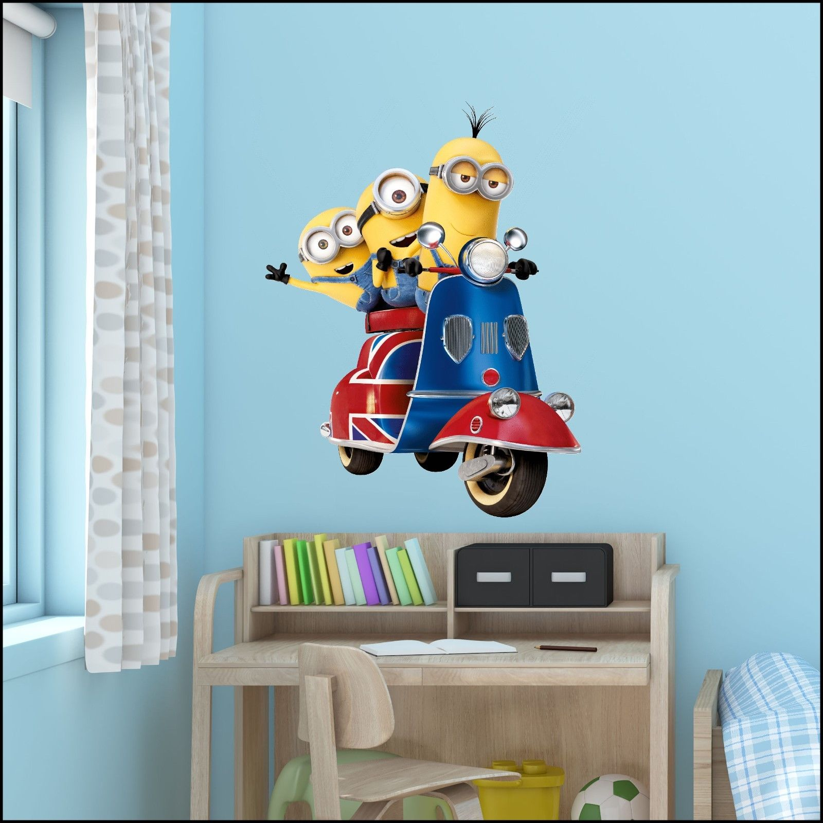 Despicable Me 3 minions on UK scooter vinyl wall art sticker 7 sizes ...