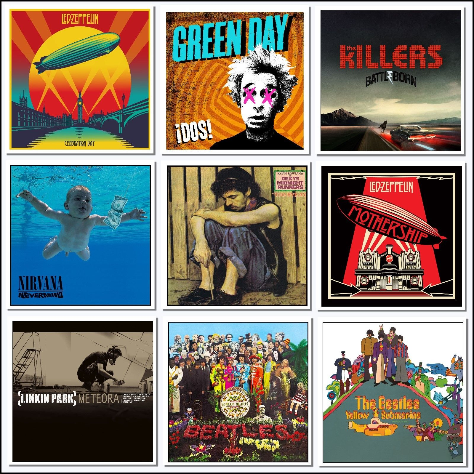 9 Large Iconic Album Covers Art Wall Sticker Decal Ideal Uunusual Gift Man Cave Jewelry